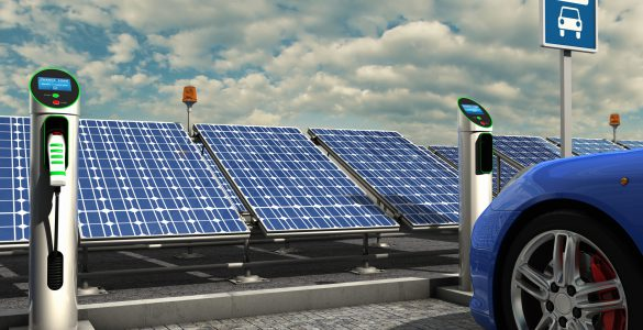Elektromobilität - Fahrzeug an der Akkuladestation