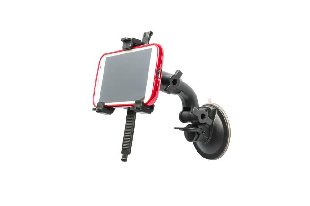 Smartphonehalterung auf weißem Hintergrund