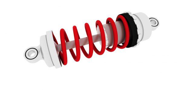 Stoßdämpfer mit roter Feder
